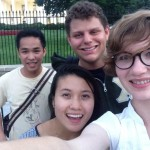Leadership Fellows, Eric Reels and Minh Pham with two of the UW-Madison leadership in front of the White House