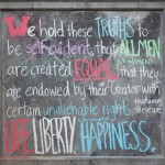 Check out our Independence Day themed chalkboard at the entrance of our hutong