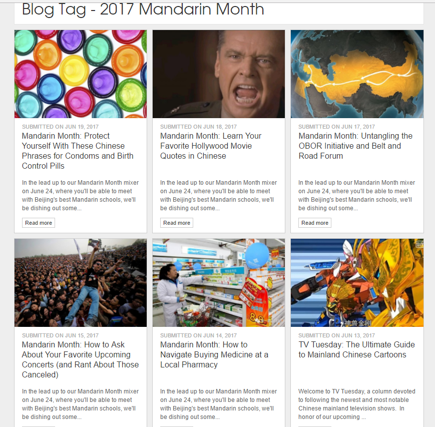 Current informative posts on The Beijinger during Mandarin Month