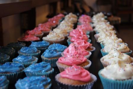 Homemade American flag themed cupcakes