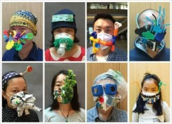 Wen Fang's Maskbook project, turning the pollution mask into works of art