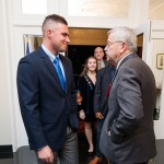 Ambassador Bransatd greets Boren Scholar Robert Allison Jr.