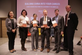 """The panelists received a signed copy of David Lampton's book, """"Following the Leader: Ruling China, from Deng Xiaoping to Xi Jinping"""". David Lampton is the Director of SAIS China and China Studies."""